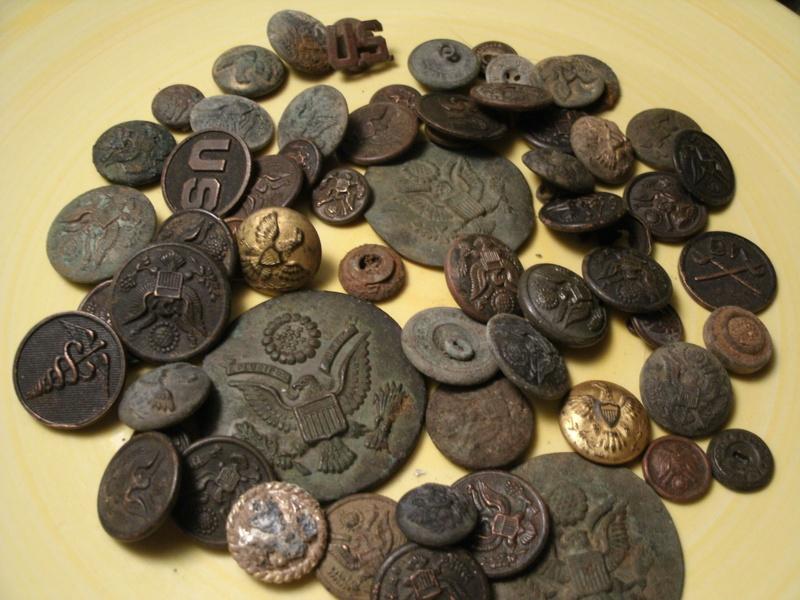 rosettes, buttons, lapel pins...all dug
