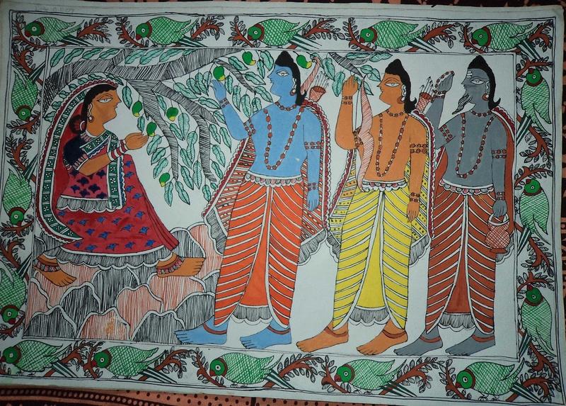 Ahilya Uddhar by Rama with Lakshman & Vishwamitra