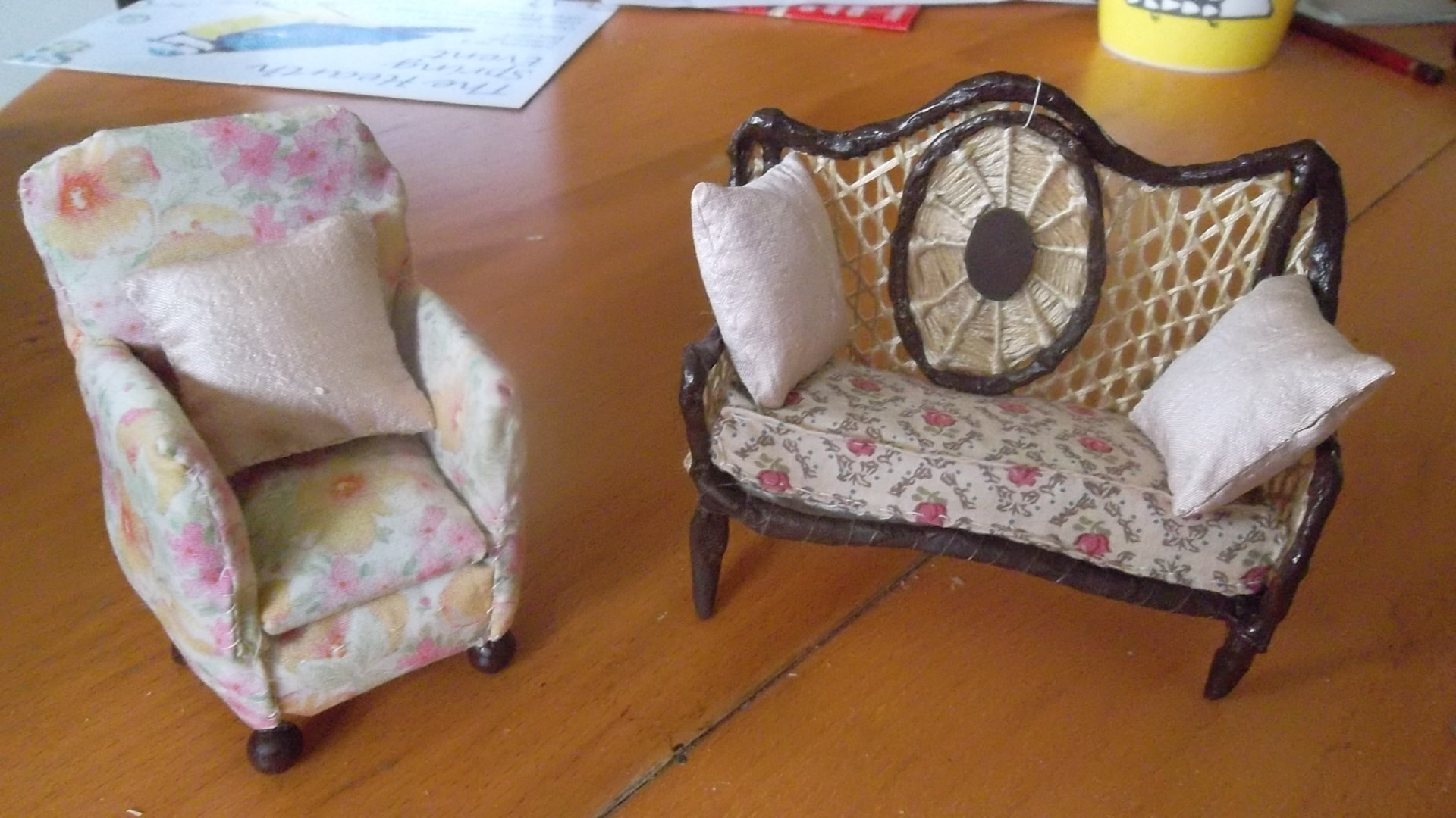 Armchair made of wire and upholstered like  a real one.