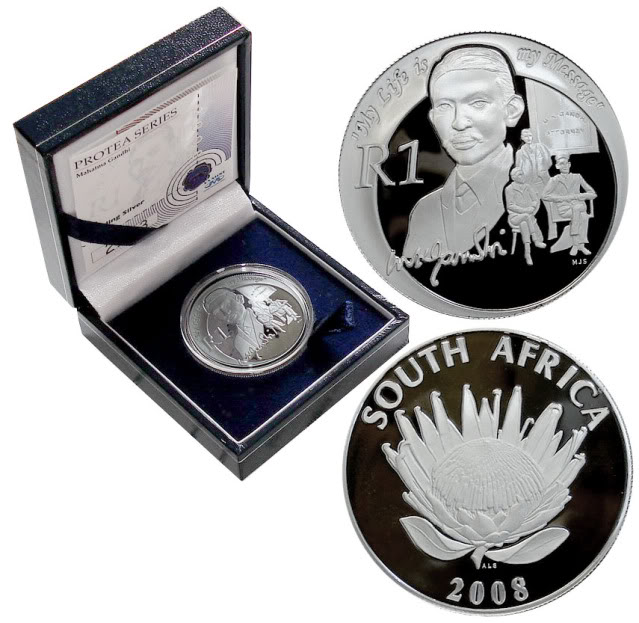 2008 South Africa Gandhi Proof 1 rand