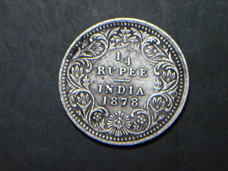 1/4 Re.1878 Victoria Empress (reverse)