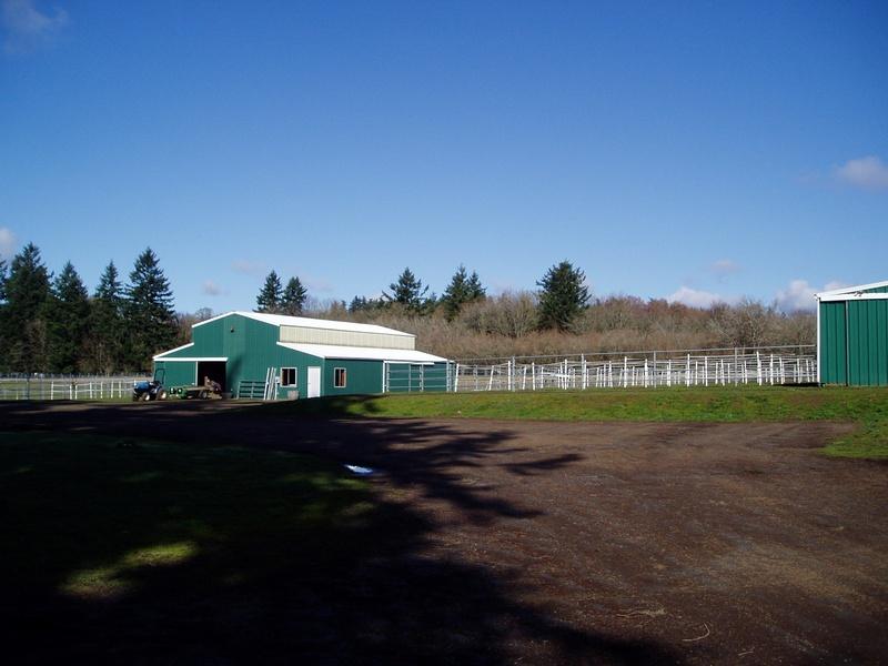 End of Arena barn, paddocks, and Little Barn