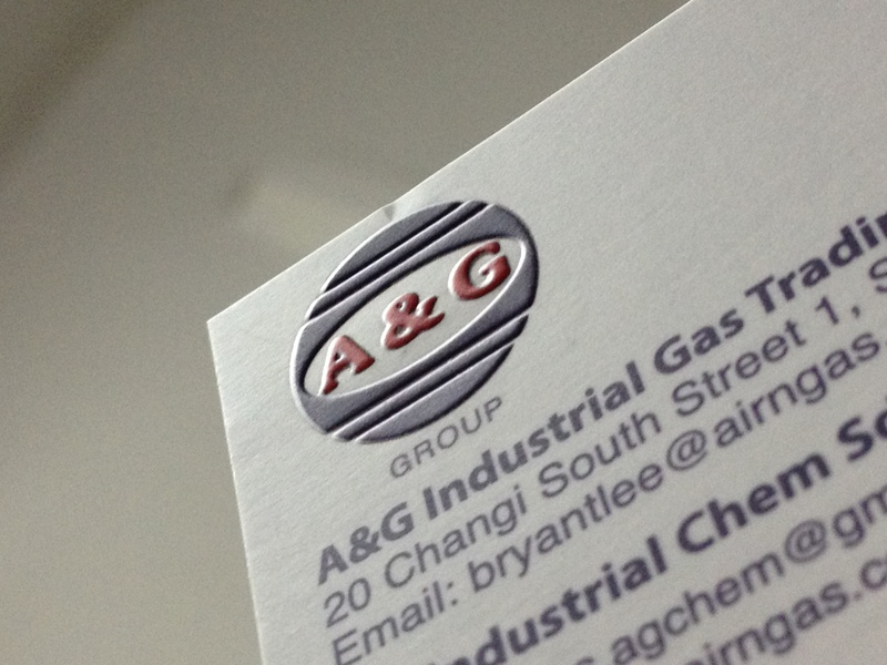 Business card with emboss effect