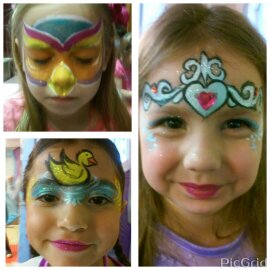 owl, duck, sophia crown face paint