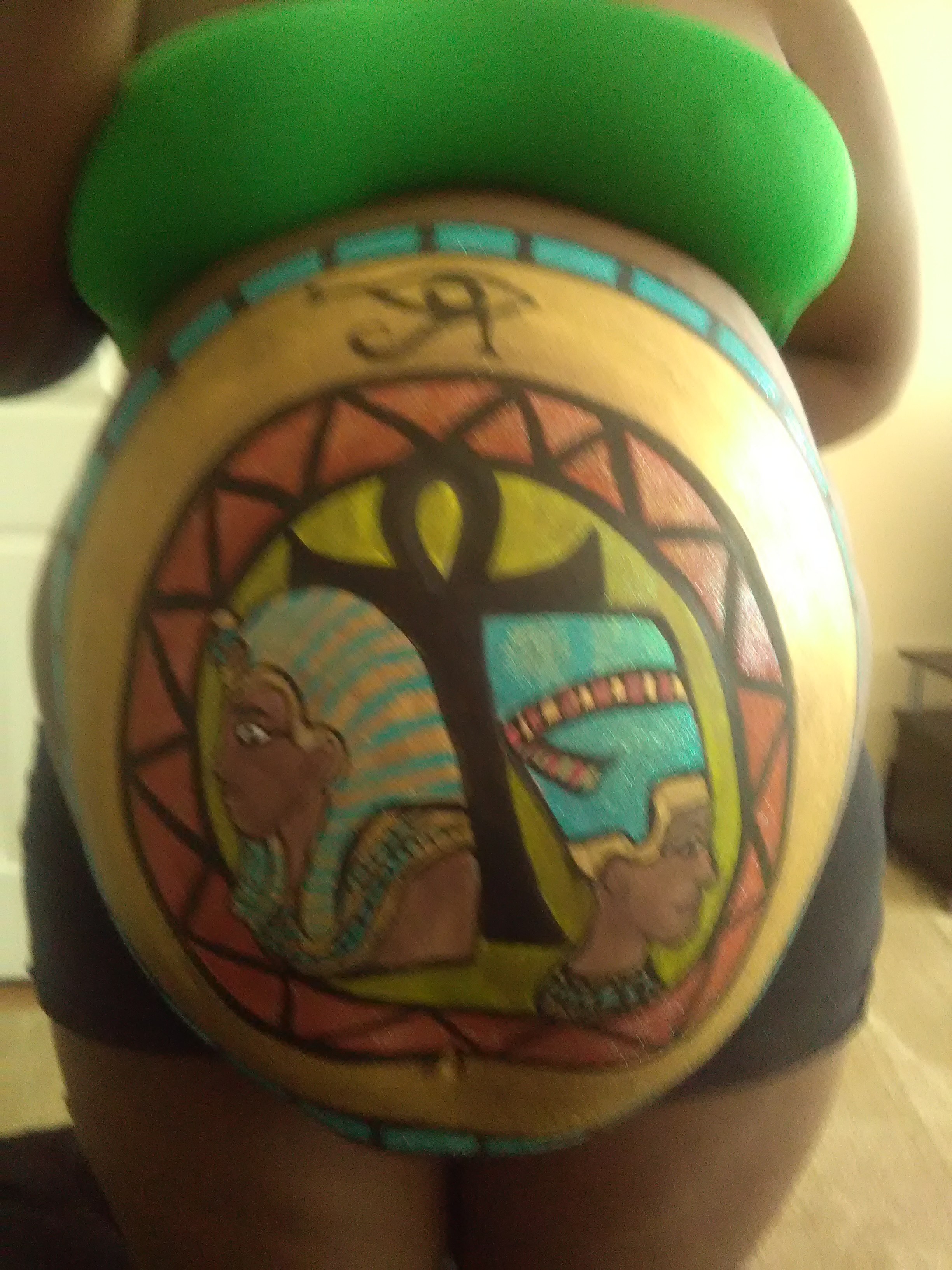 Egyptian King and Queen Anke Twins Belly Painting