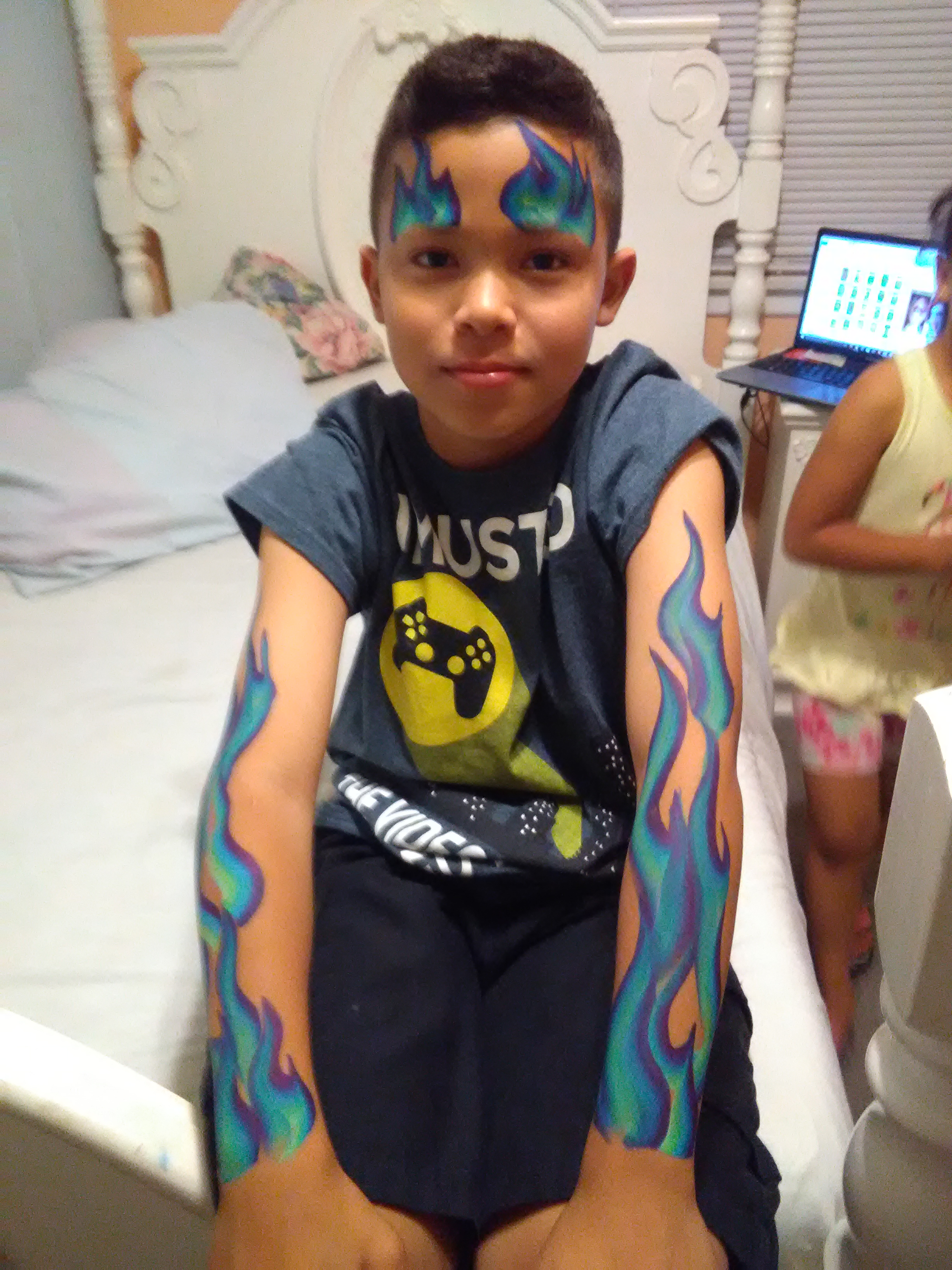 Blue Flame face paint