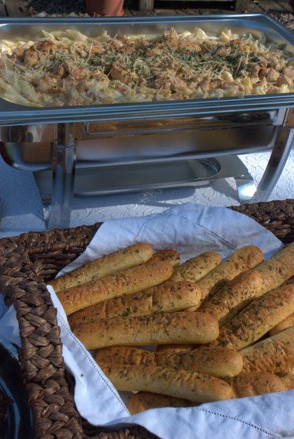 Cajun Chicken Pasta and Bread Sticks