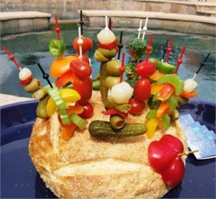 Bread Bowl with Veggie Skewers