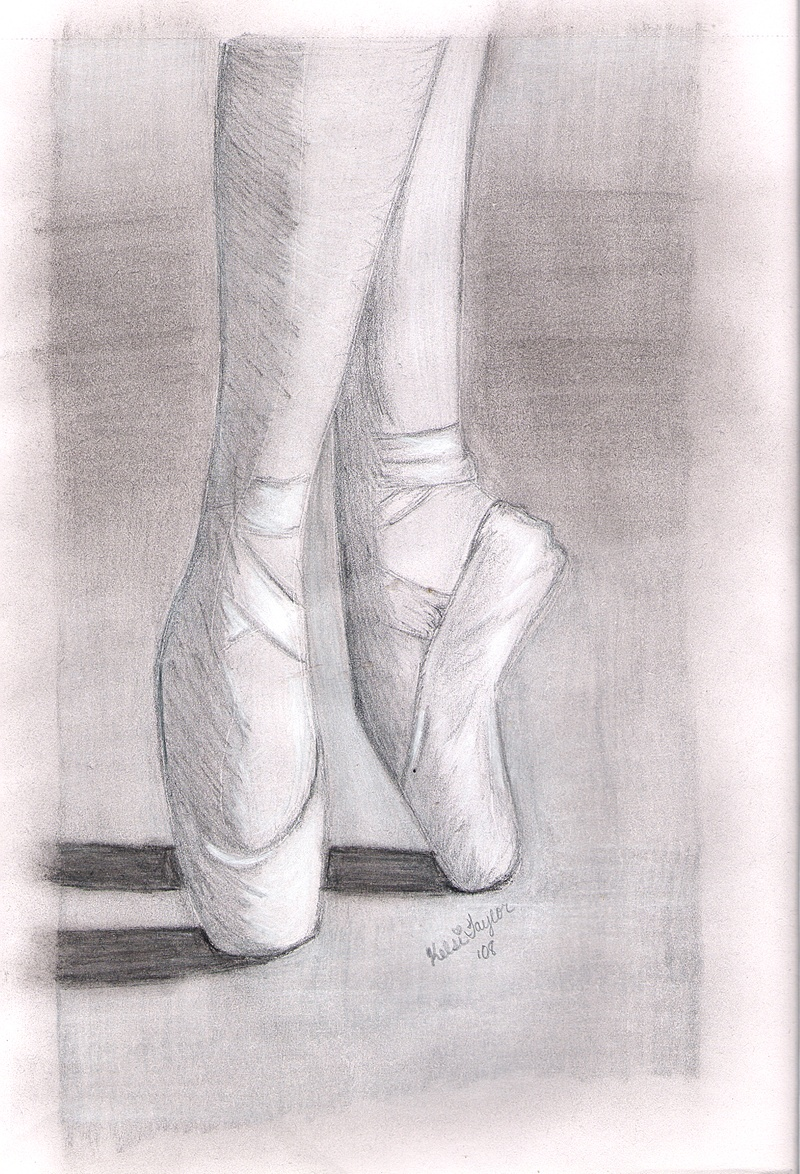 Black and White Pointe Shoes