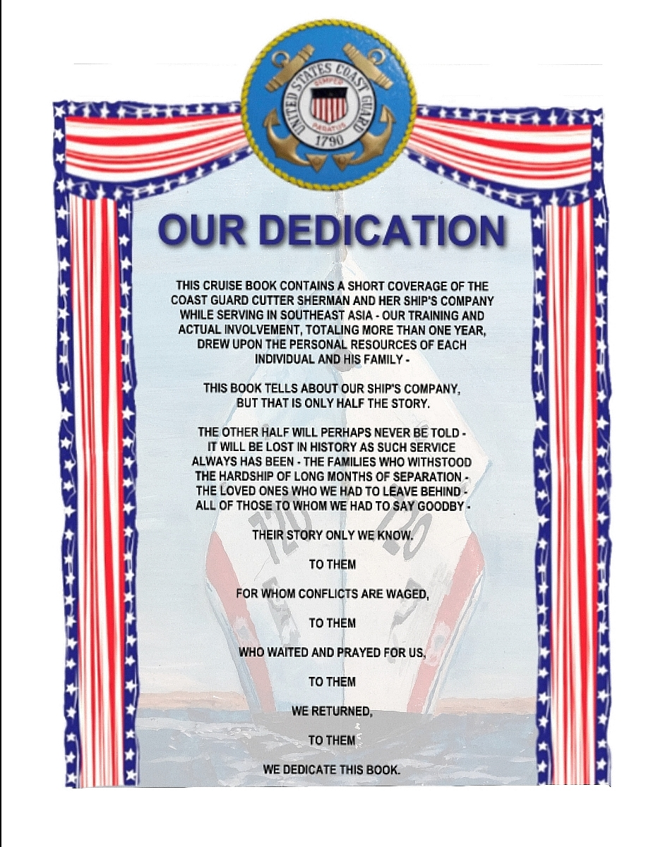 Our Dedication pg1 of the Sherman Cruisebook
