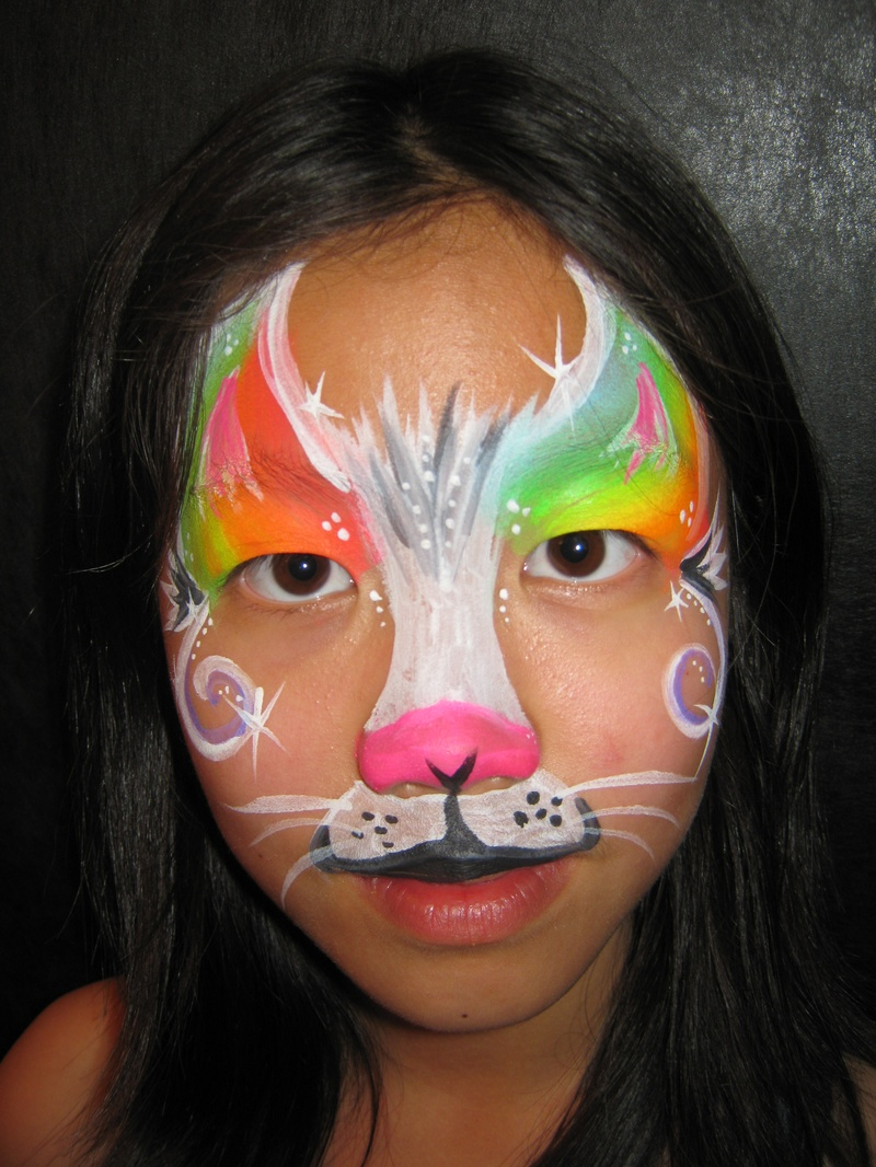 Neon Rainbow Kitten Mask