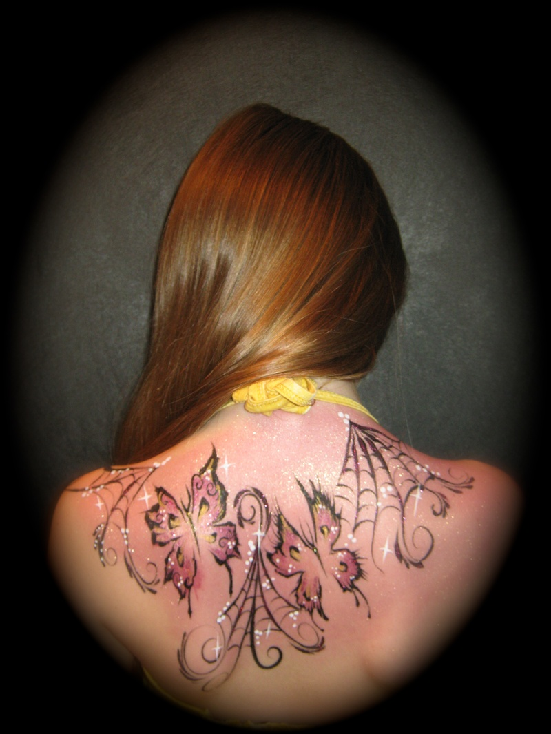 spider webs and butterflies tattoo style..