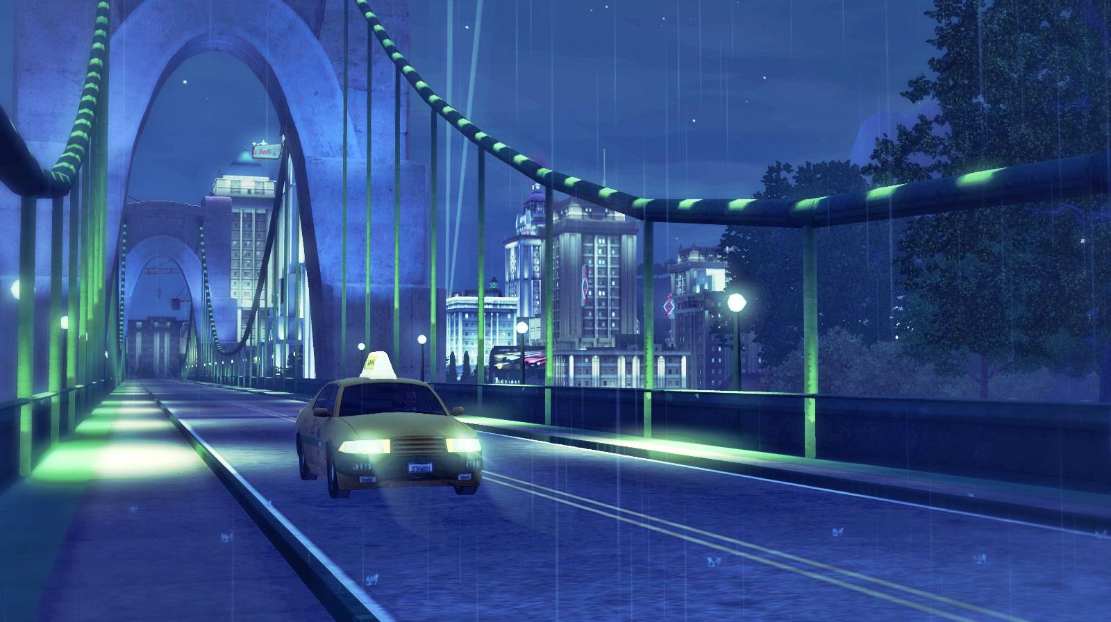 Late Night Cab Drive In The Rain