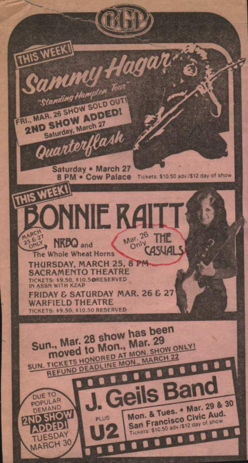 The Casuals opening for Bonnie Raitt at the Warfield Theater in San Francisco, California, in the Pink Section Ad