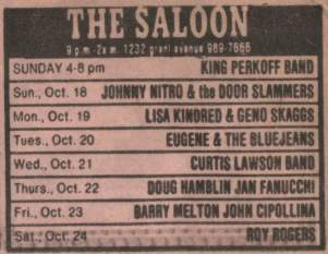 """Chrinicle """"The Saloon"""" Ad for Eugene & The Bluejeans"""