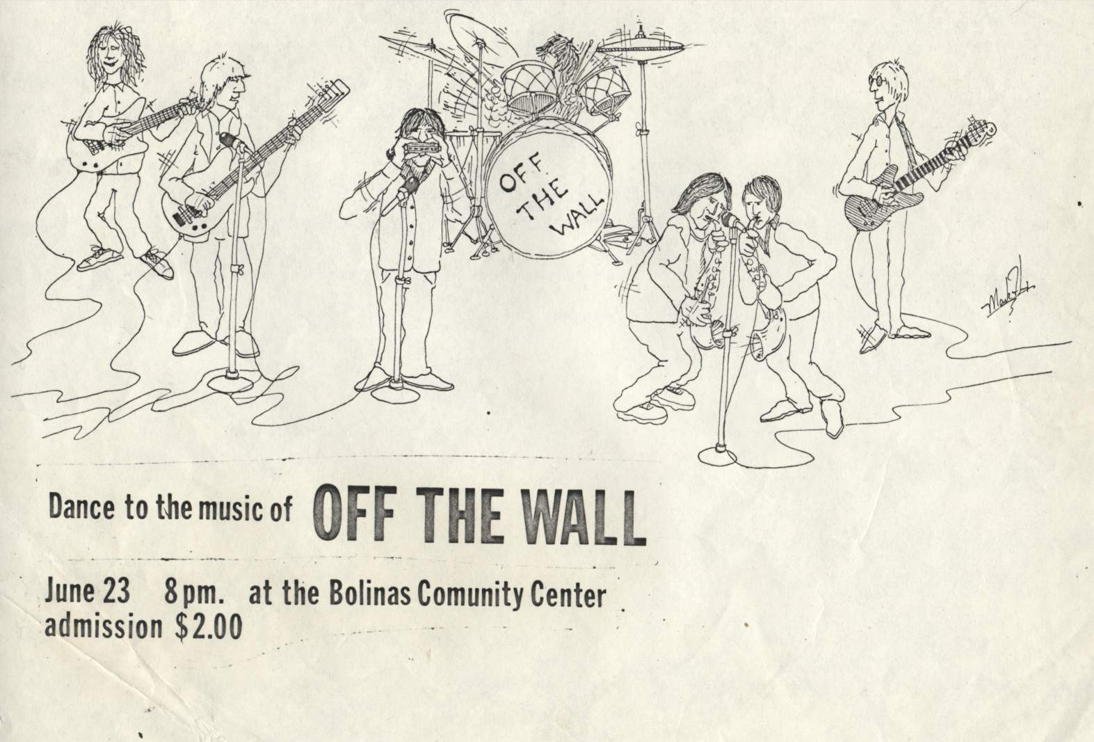 Off the Wall Poster, Bolinas Community Center, 1979, Artwork by Mark Felix