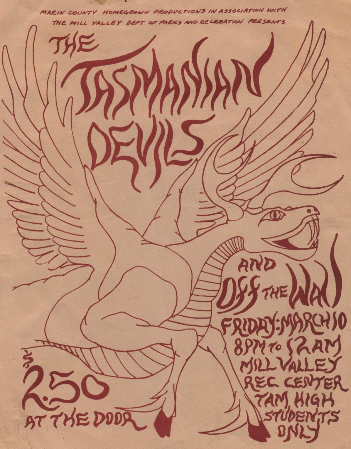 Off The Wall, opening for the Tasmanian Devils, My First Paying Gig!