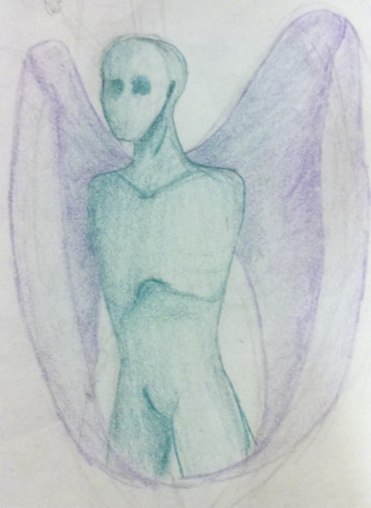 ARMLESS FACELESS WINGED GREY MAN (traditional art)