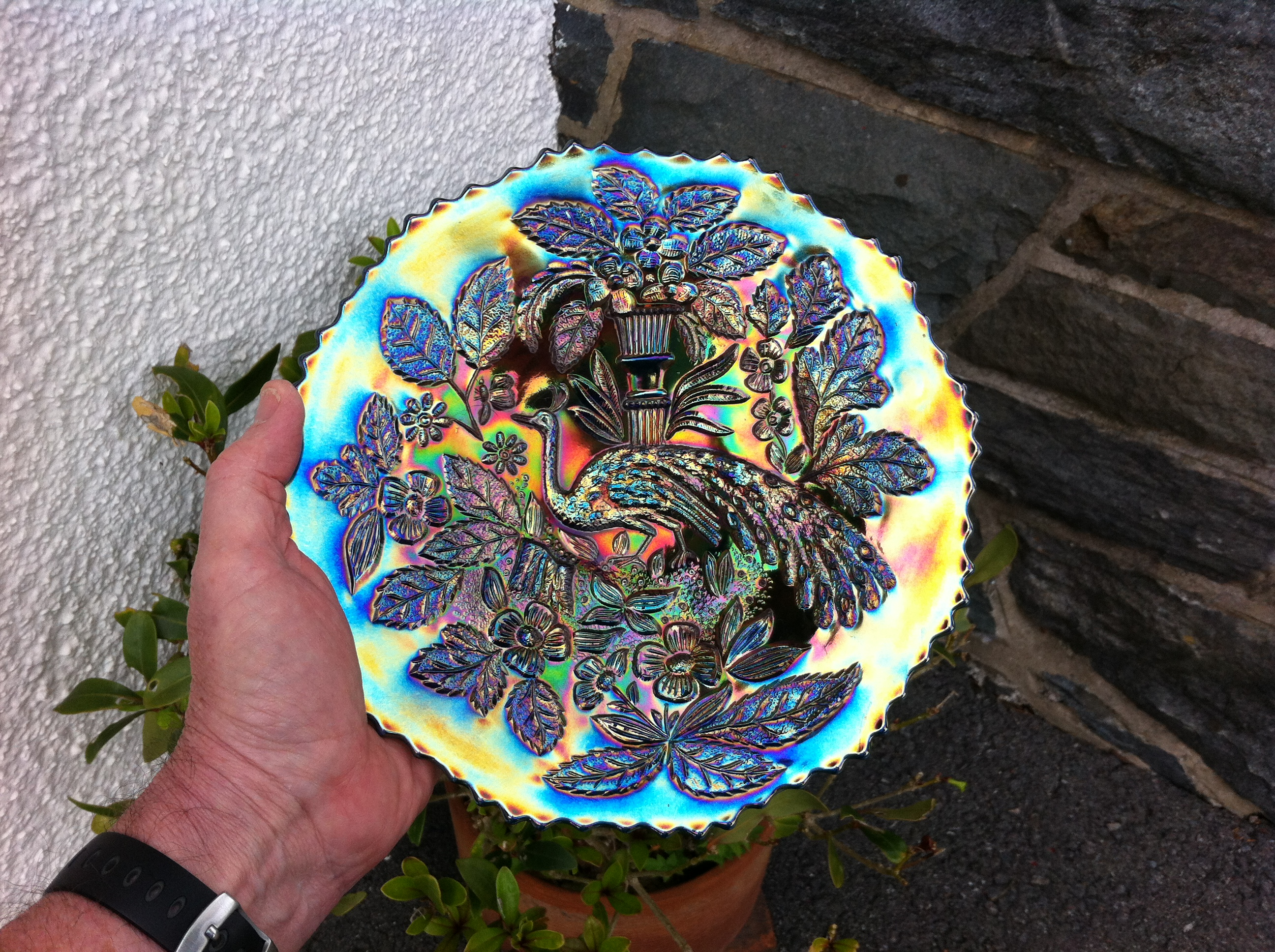 """Peacock and Urn, 9"""" plate in blue"""