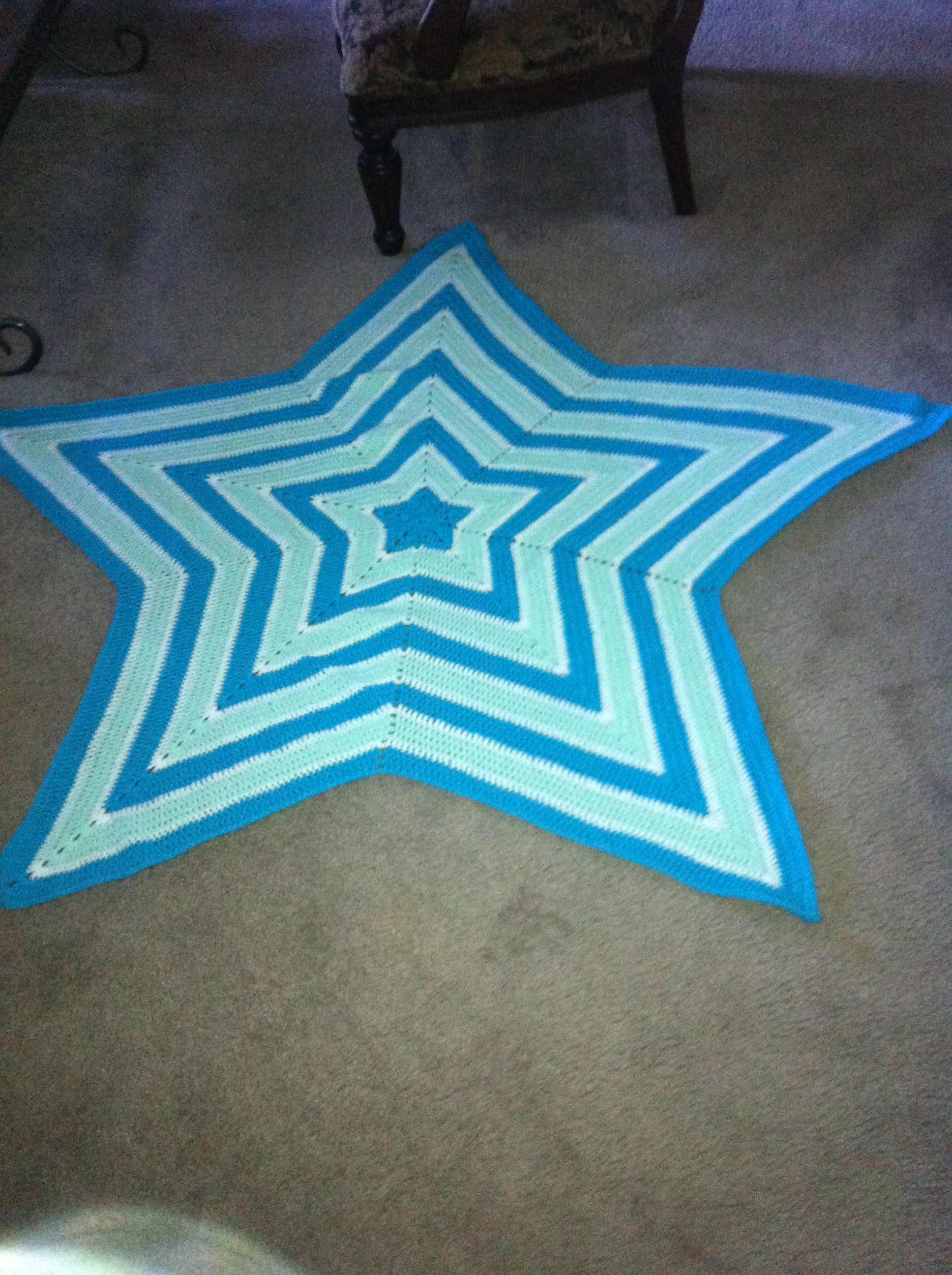 Turquoise Blue Pastel Green and White Star Blanket