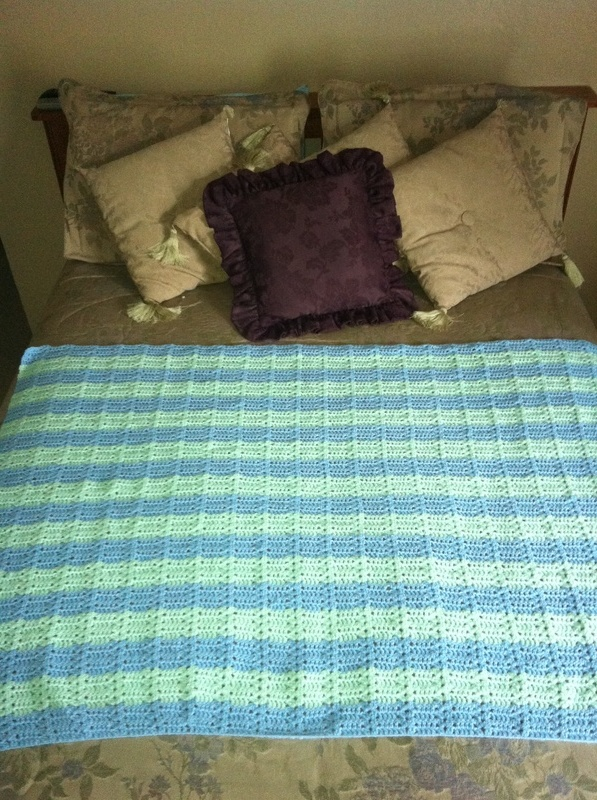 Pastel Green and Blue Horizontal Blanket