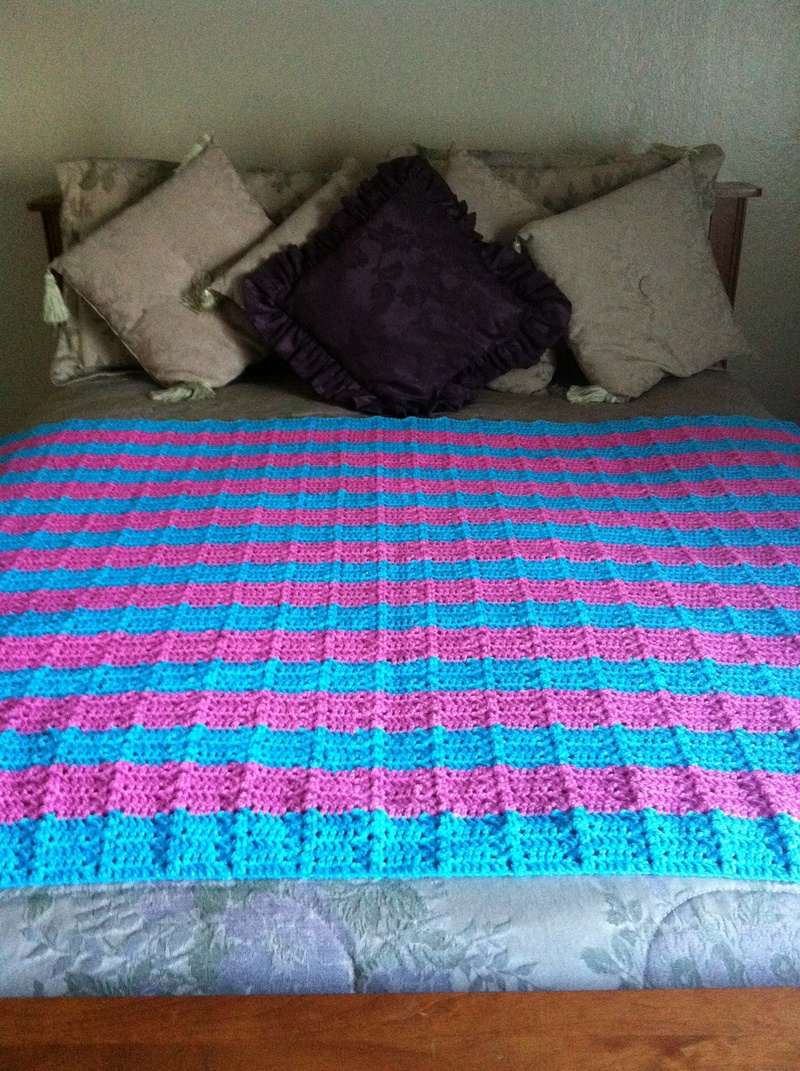 Bubblegum Pink and Turquoise Blanket