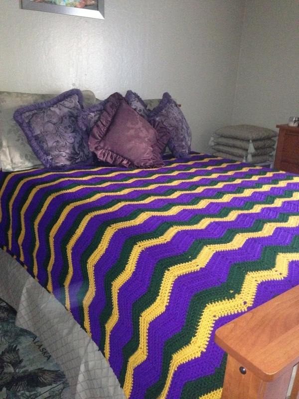 Over Size Side View of Zigzag Crocheted Blanket