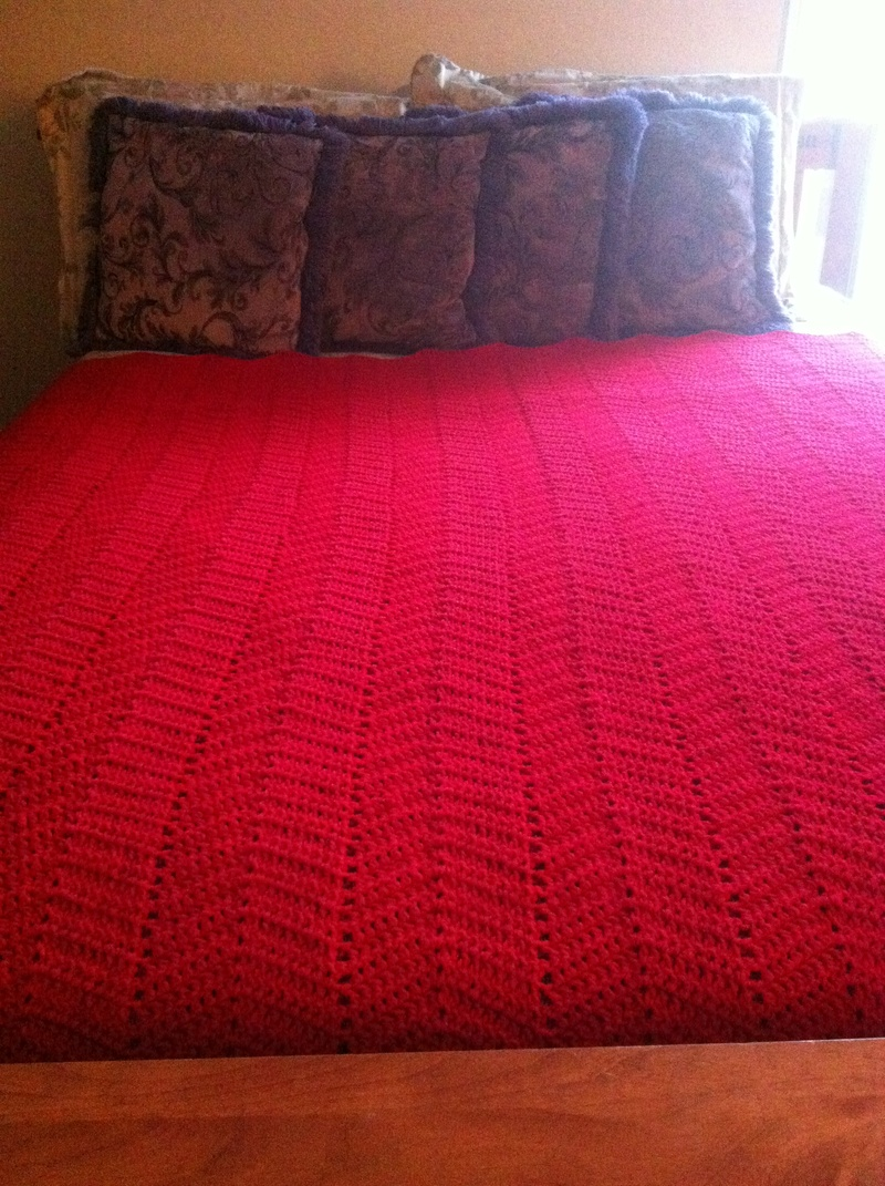 Red Zigzag Blanket in Twin, Full, or Queen Size Bed