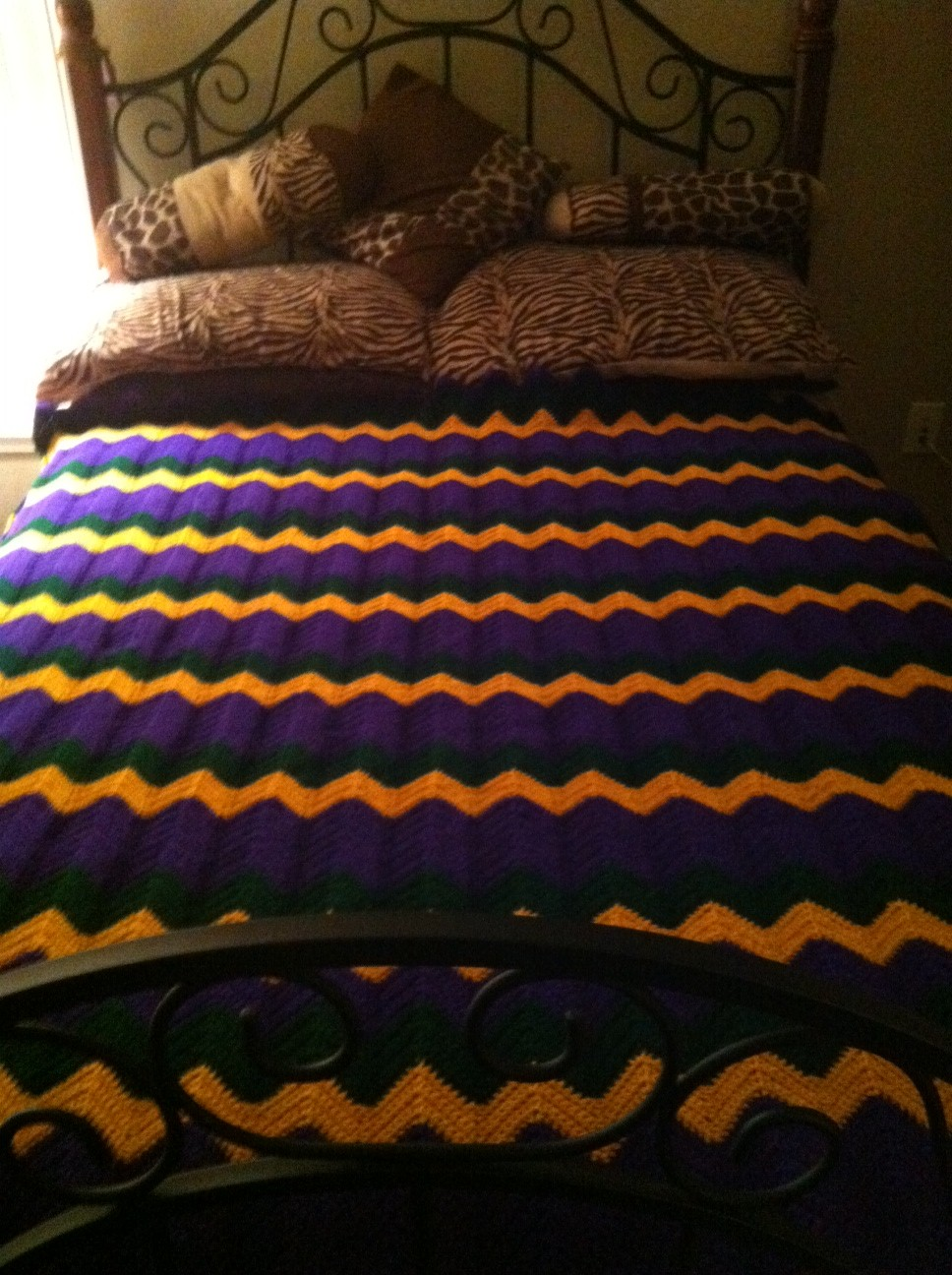 The Royal Full Size Crocheted Single Stitch Zigzag Blanket