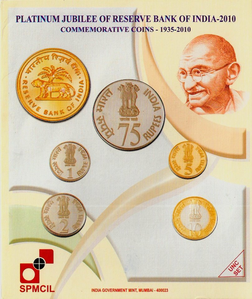 2010 'Platinum Jubilee of Reserve Bank of India' -Cover