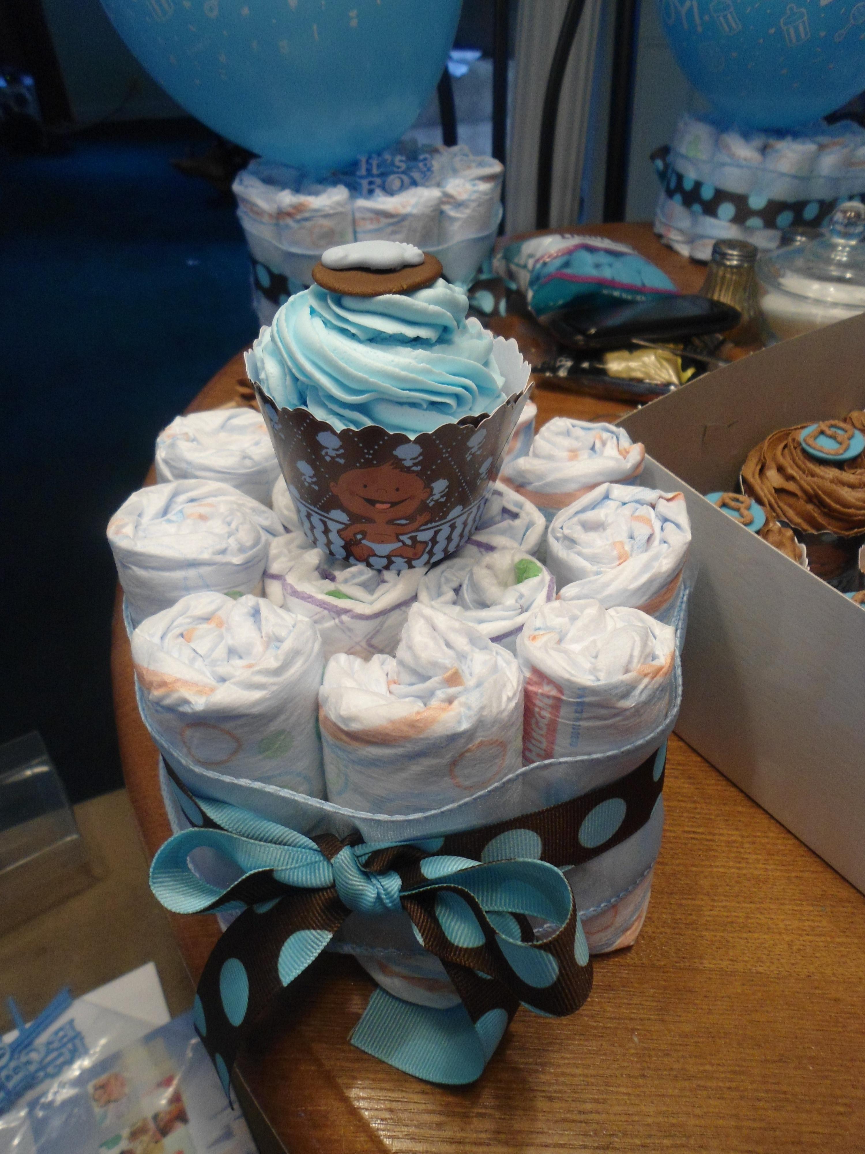 mini diaper cake centerpiece w/cupcake