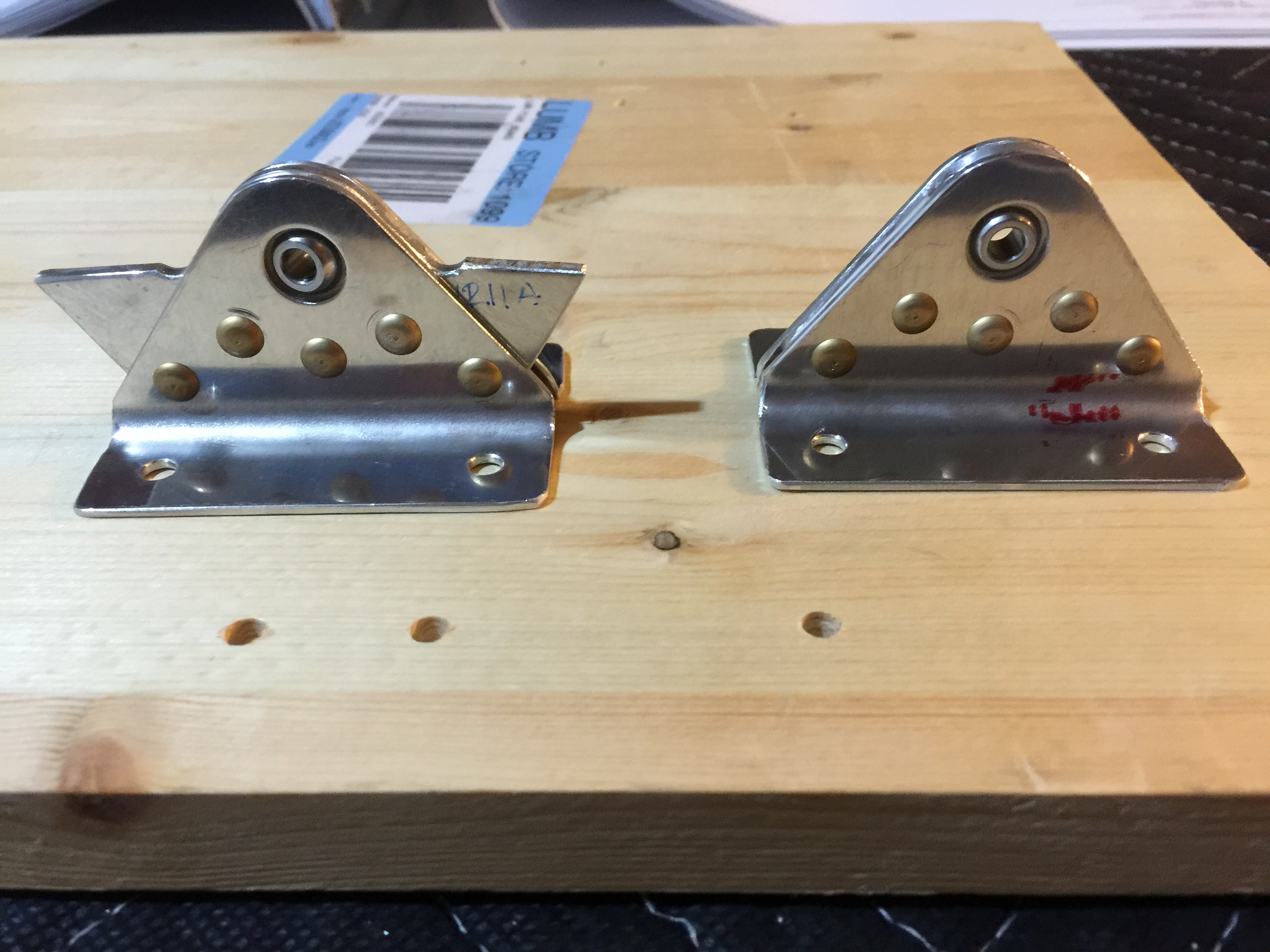 First airplane parts - Rudder Hinge Brackets