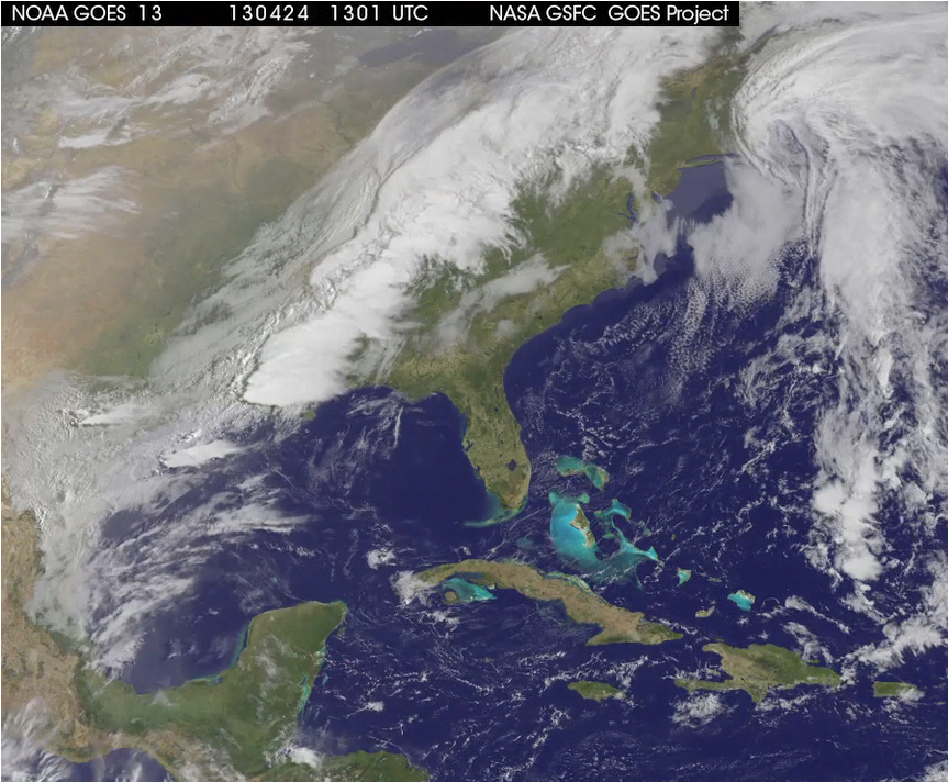 A Late season Noreaster (4-23/24-2013) heads out to sea.