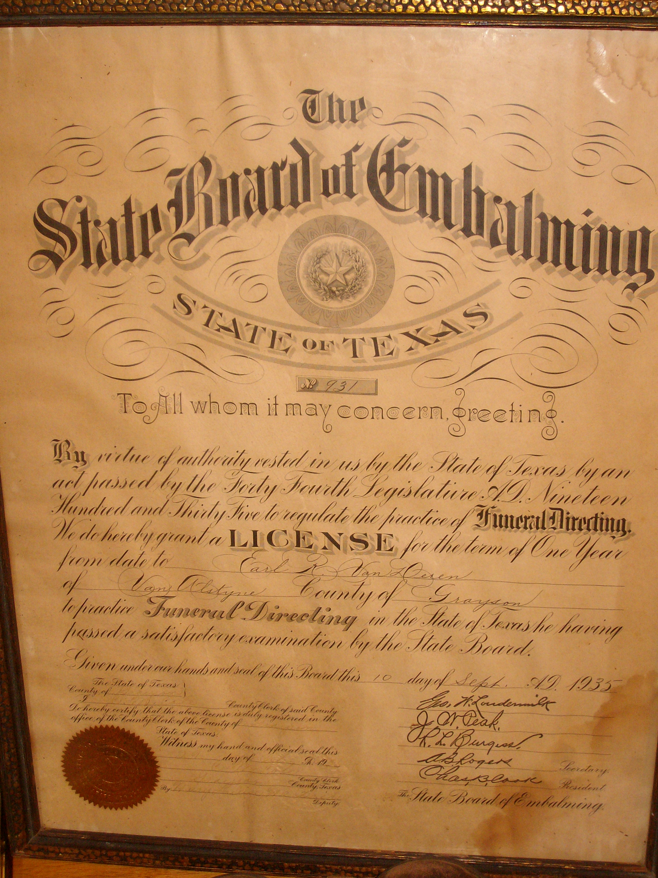 Emablming Certificate september 10 1935
