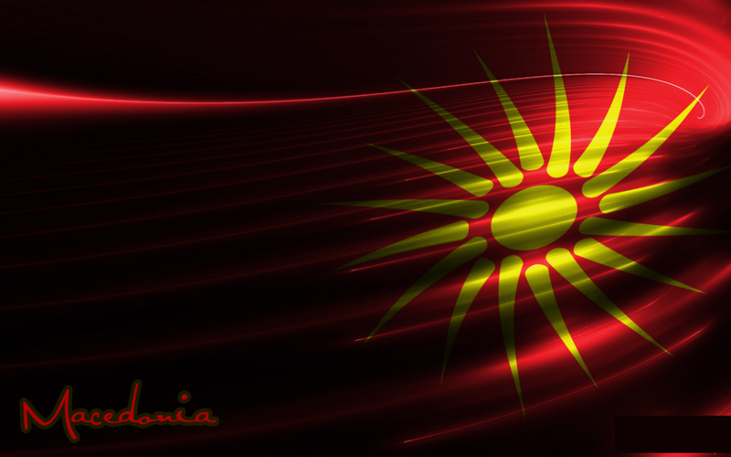 Waving Macedonian Flag