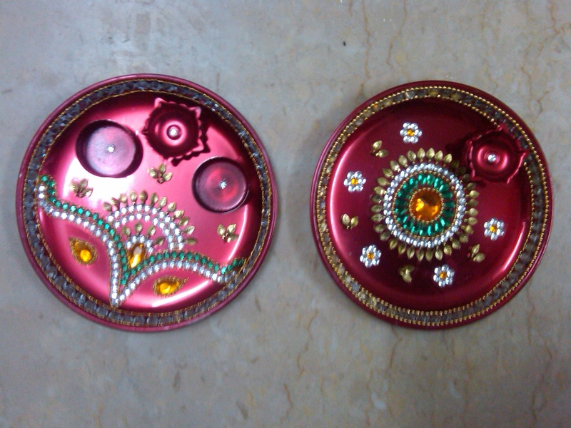 Aarti thali pooja thali wedding thali pooja thali indian for Arti thali decoration