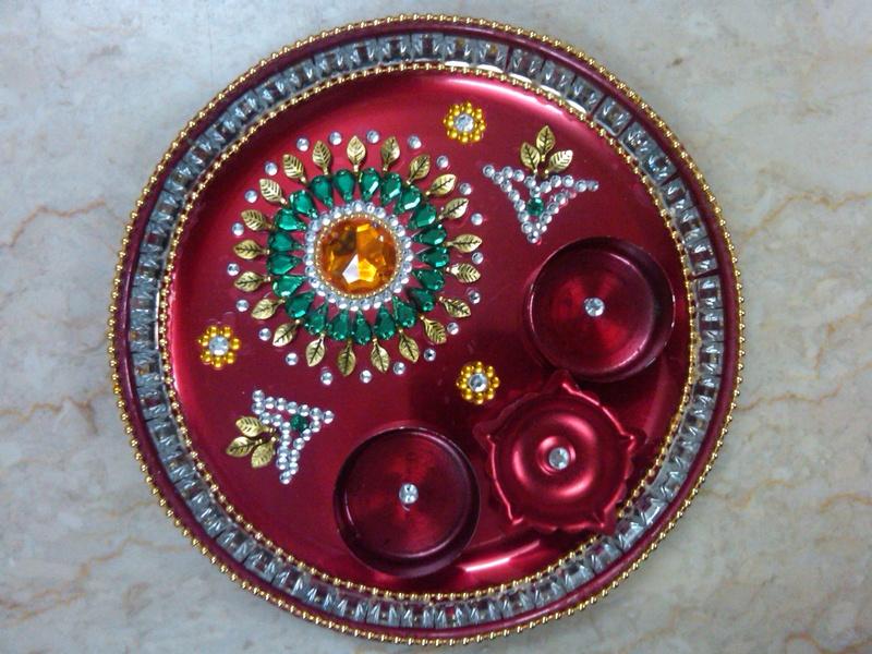 Aarti thali pooja thali puja thali diwali aarti thali for Arti thali decoration