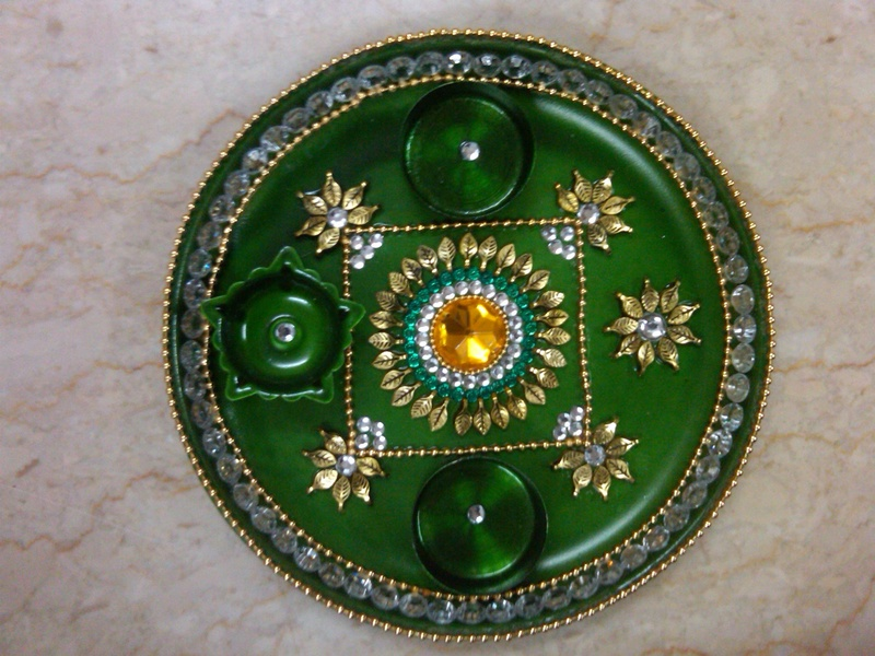 Pin decorative aarthi plates on pinterest for Aarti plate decoration