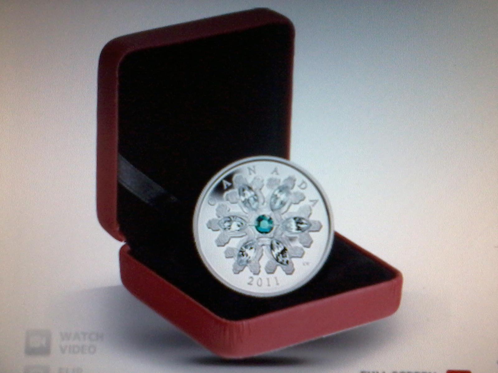 2011 $20 fine Silver Coin - Cystal Snowflake Emerald