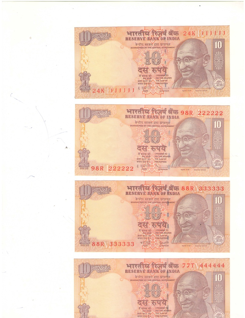 10 Rupees Serial Notes