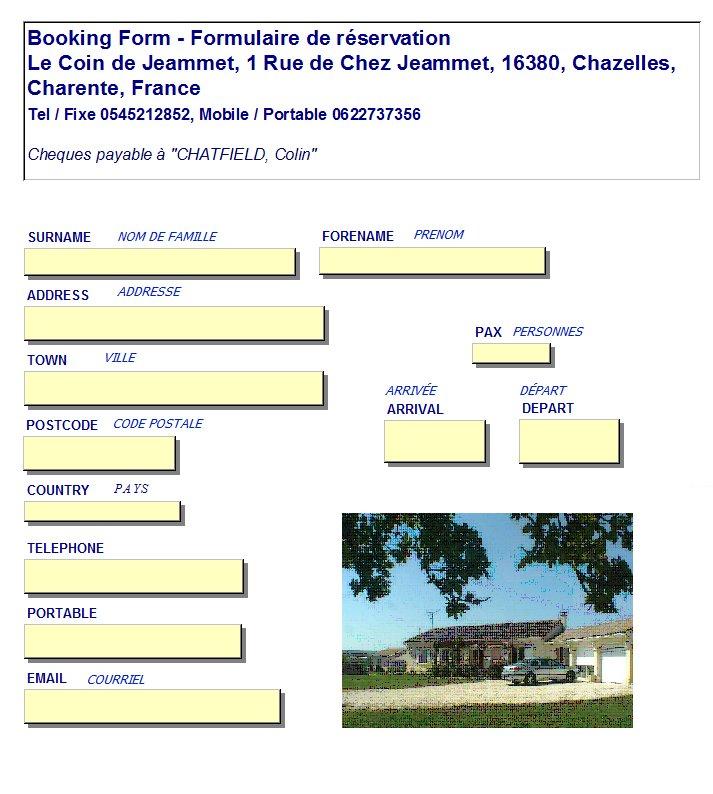 Le Coin de Jeammet. Booking Form