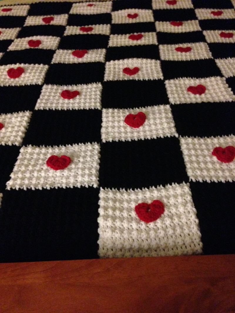 Black & White Square Crocheted Blanket w/Red Hearts