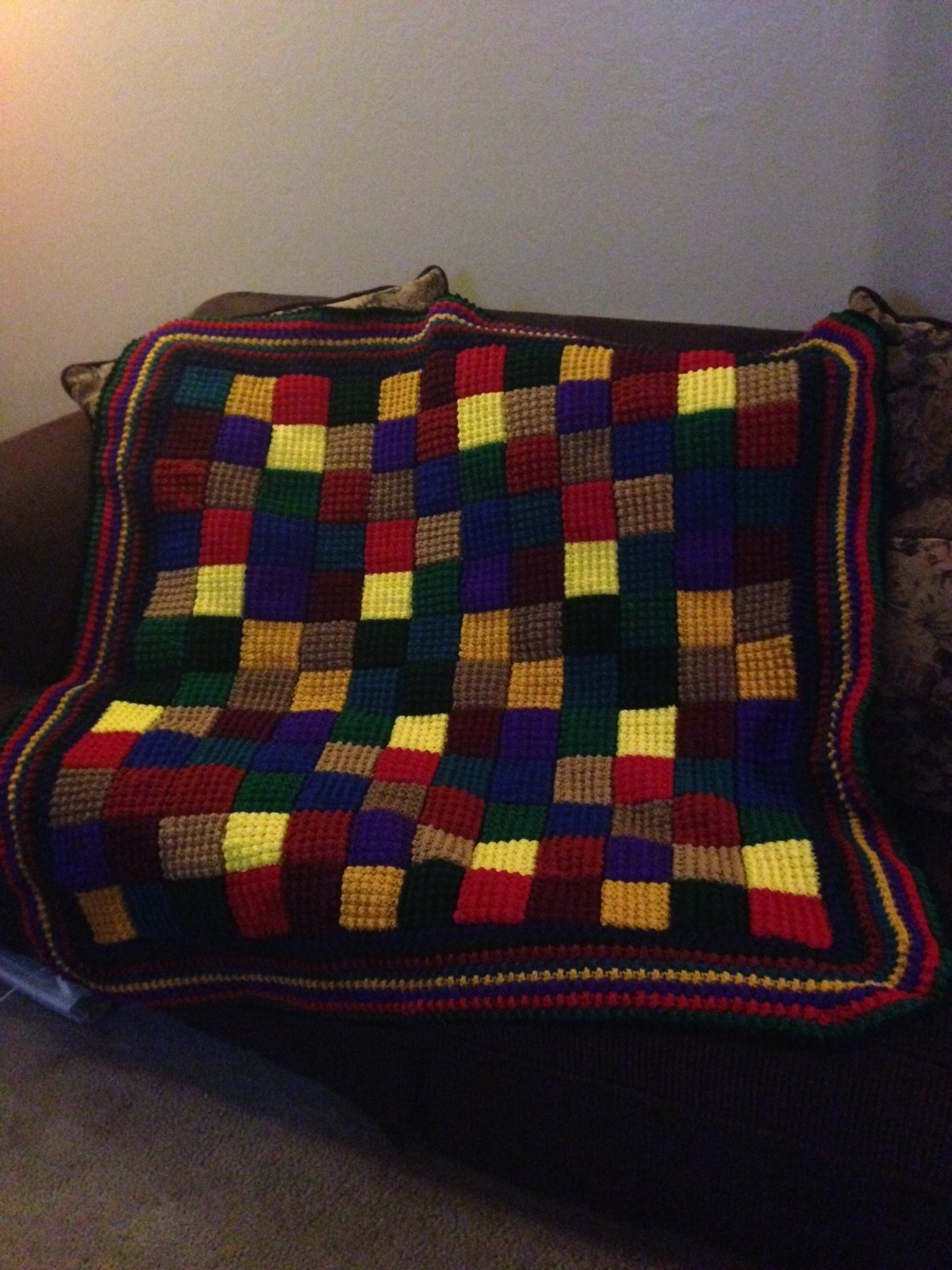 Large Multiple Color Crocheted Blanket