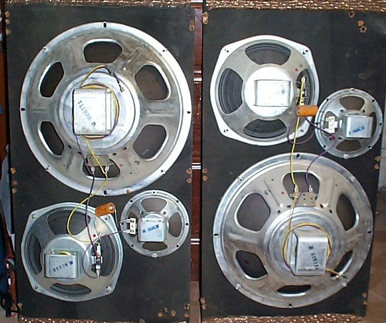 A set of 6 Curtis Mathes Stereophonic hi fi speakers.