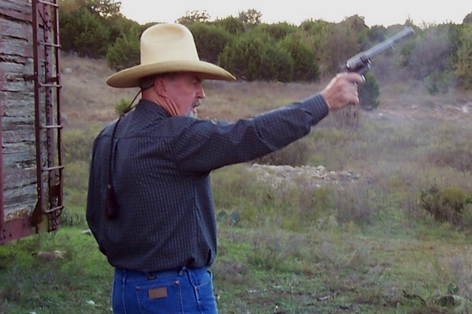 Slingin' a little lead on the ranch target range.