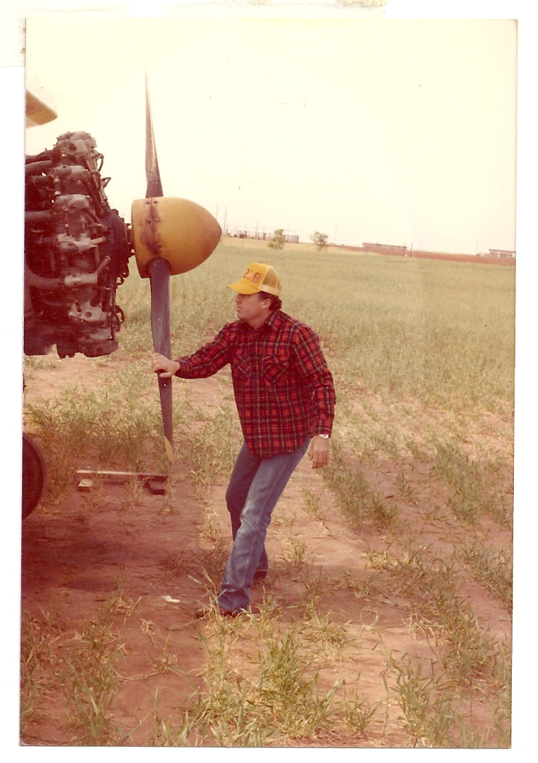 Pulling the prop through at Anson, TX on my first Crop Duster.
