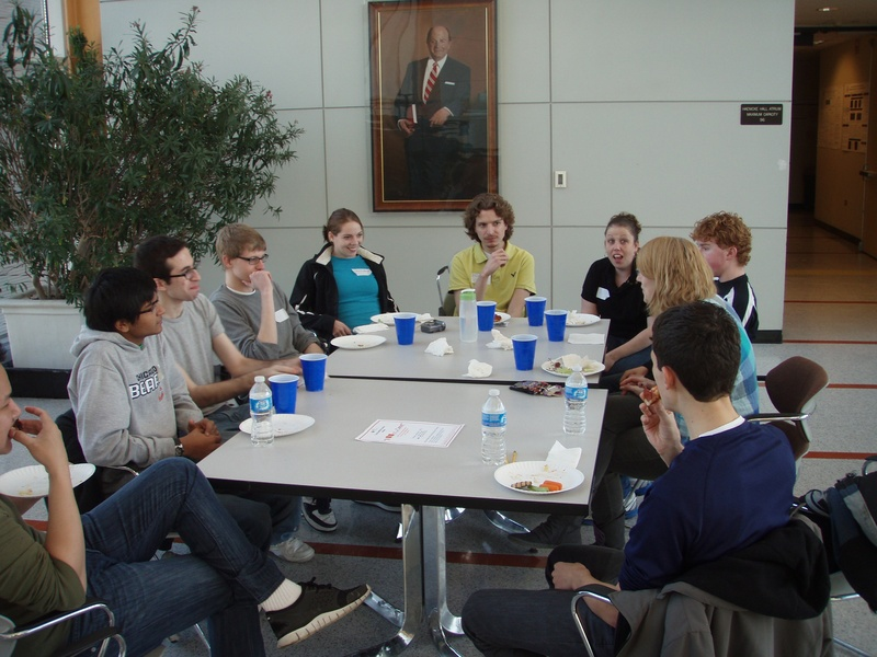 Lunchtime with Brain bee contestents, professors and graduate students