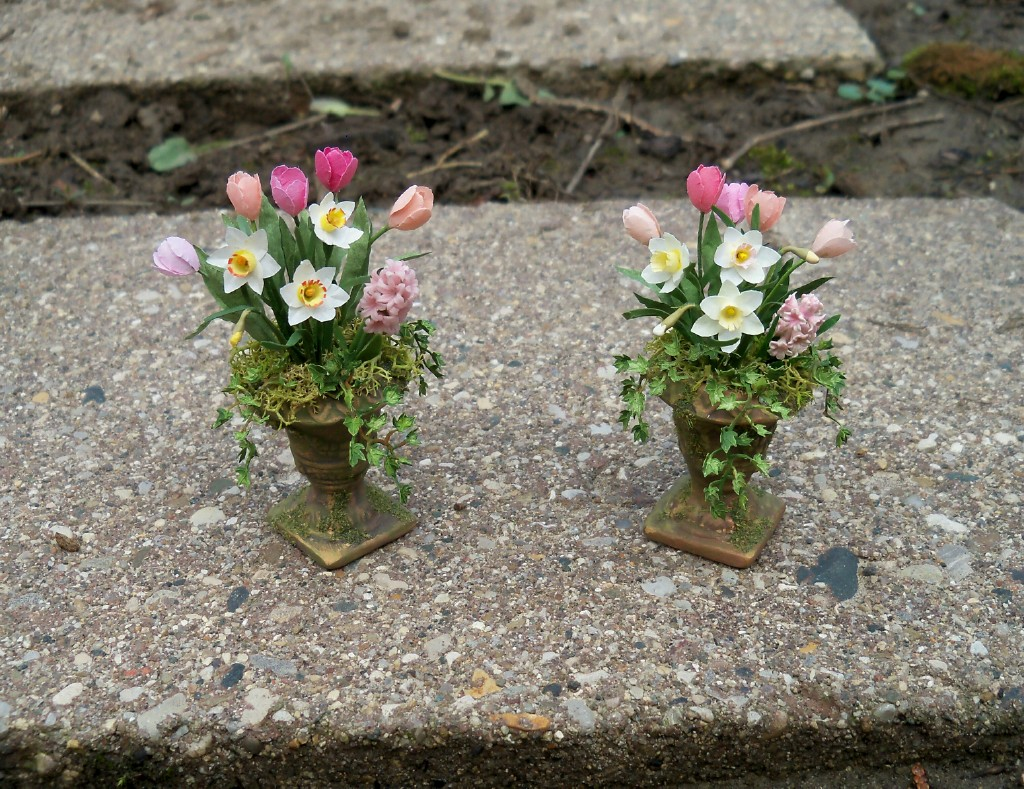 Spring flowers in urns