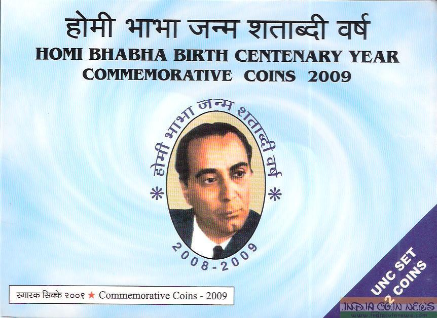 2009 'Homi Bhabha Birth Centenary' UNC Coin Set- Cover