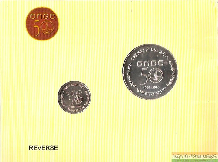 2006 '50 Years of ONGC' UNC Coin Set- Reverse